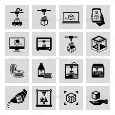 Buy Printer Icons Set by macrovector on GraphicRiver. Printer black icons set of manufacturing technology and production process isolated vector illustration.Editable E. Shop Icon, Icon Set, Flat Design Icons, Icon Design, Design Art, Communication Icon, 3d Icons, Education Icon, Purple Wallpaper Iphone
