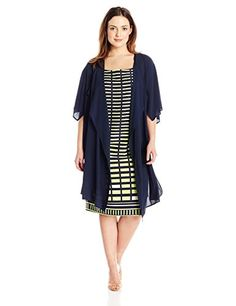Maya Brooke Women's Plus Size Geo Print Dress and Solid Duster, Navy/Lime, 18W. Church. Shower, wedding shower, mother of the bride.