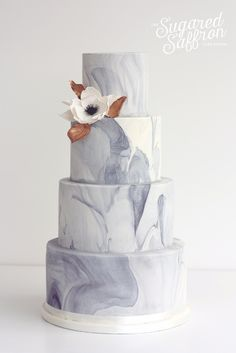 Marble Effect with anemone wedding cake by Sugared Saffron Cake Studio in London