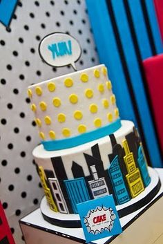 Looking for the newest and best party ideas? Kara's Party Ideas is the place for all things party! Come in and see what is trending in the party world! Superhero Cake, Superhero Birthday Party, Boy Birthday, Birthday Parties, Cake Birthday, Kid Parties, Fiesta Pop Art, Festa Pin Up, Pop Art Party