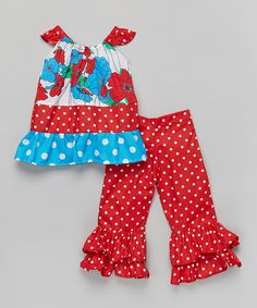 Love this Red Poppy Ruffle Top & Pants - Infant, Toddler & Girls by Beary Basics on #zulily! #zulilyfinds