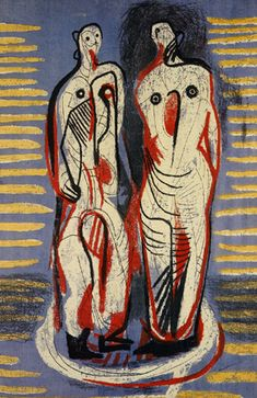 Screen printed linen wall hanging (1947) by British sculptor & artist Henry Moore (1898-1986). Created for Ascher fabrics. via rennart