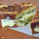 Grilled cheese using Irish Soda Bread with cheddar and pesto