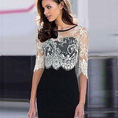 Women's+Vintage+Lace+Inelastic+Long+Sleeve+Knee-Length+Dress+(Cotton+Blends)+–+CAD+$+22.23