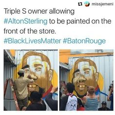 #Repost @missjemeni  I'm scared for him but I soooo  this dude and the stance he has continued to take. Even as a store owner who let #AltonSterling sell CDs outside of his store (because so many would not have)  to then see him as a friend then testify to the world against the police who killed him to this beautiful tribute when others would want to move back to business as usual..  #BlackLivesMatter #AltonSterling #BatonRouge