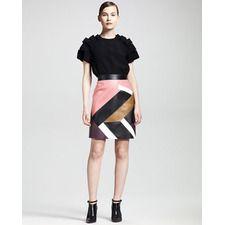 Fendi Mondrian Patchwork Leather Skirt - Bergdorf Goodman