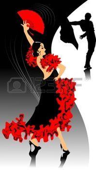 danseuse flamenco: danseur en noir danse robe de flamenca (illustration);