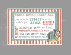 Custom Vintage Circus Elephant Invitation Baby by CharesClaire