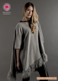 6153-5013 cashmere poncho +sleeves with lamb fur #cashmere #herzensangelegenheit #herzens #winterfashion