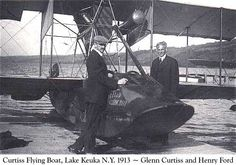 The 'flying boat' made by Glenn Curtiss (standing with Henry Ford) 1913