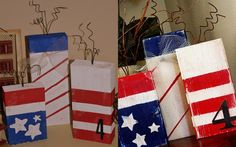 2x4 firecrackers.  I made these for the 4th of July.  My project is on the left.  Pinterest inspiration project is on the right.  I love these and it started my new obsession with 2x4 crafts!
