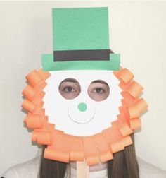 Animal mask made from paper plates for kids pinterest for Leprechaun mask template