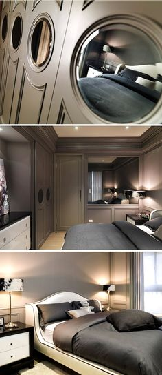 SD:  White headboard w/dark grey linens.  mirrored end tables instead?    style luxury_Bedroom Suites