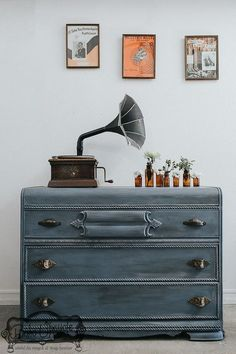 Dresser painted with Chalk Paint decorative paint by Annie Sloan in the color Old Violet by Los Angeles, CA stockist Arora Boheme.