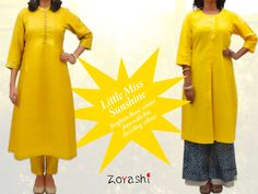 When you don't get your daily dose of sunshine on a gloomy winter morning... You become the sunshine! Brighten up your morning with Zoyashi's Tussar Silk Yellow Kurta or a Yellow Khadi Kurta!! #Yellow #SilkCollection #Khadi #Collection #Zoyashi #RockThisLookWithZoyashi #Winters #Sunshine