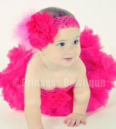 Elegant Shocking Hot Pink  Chiffon Rose Infant Baby Vintage Headband