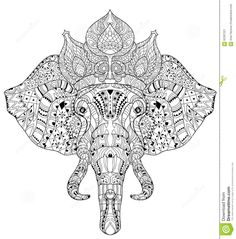 Elephant Head Doodle On White Vector Sketch. Stock Vector - Image: 62297221