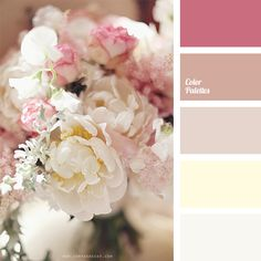 Color Palette #1616, white on white, cream, pale pink, roses