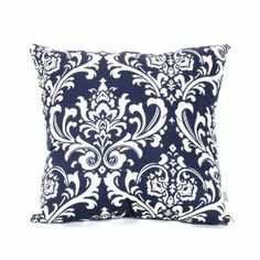 Majestic Home Goods Navy and White French Quarter Pillow, Large