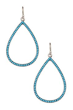 Lucky brand earrings, silver-tone turquoise bead oblong drop earrings