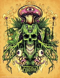 Trippy, psychedelic illustration of a green natural skull with mushrooms and pot plants coming out of it. Cannabis, Aztecas Art, Stoner Art, Weed Art, Mushroom Art, Hippie Art, Dope Art, Psychedelic Art, Tatoo