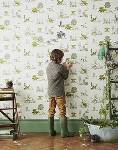 dinosaur wallpaper for kids room interior Dinosaur Wallpaper, Kids Wallpaper, Room Wallpaper, Wallpaper Roll, Bedroom Themes, Kids Bedroom, Childrens Bedroom, Room Kids, Eclectic Wallpaper
