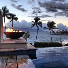 Serenity Pool at Sunset overlooking Wailea Beach and the Pacific - Four Seasons Resort - Maui, Hawaii