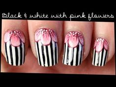 Black & White with Pink Flowers nail art