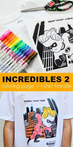 How To Make A DIY Disney Pixar Incredibles 2 Shirt : How to make a custom Incredibles 2 t-shirt from a coloring page. This is an easy fun craft for kids who love Incredibles and then they can wear their creation! Disney Diy, Disney Crafts, Disney Pixar, Disney Incredibles, Fun Easy Crafts, Fun Crafts For Kids, Diy For Kids, Fun Diy, Rainy Day Activities