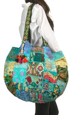 TribeAzure Large Oversize Blue Canvas Shoulder Bag Handbag Unique Tote Quilt Vintage Beach Travel Summer for sale Beach Trip, Beach Travel, Bag Quilt, Boho Accessories, Patchwork Bags, Patchwork Designs, Canvas Shoulder Bag, Shoulder Bags, Boho Bags