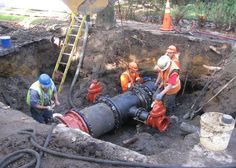 Ductile iron pipe connection work.