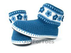 Ganchillo botas zapatos Gzhel Jeans inspirados azul por JoyForToes