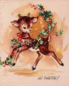 Vintage 1950s Doe Deer Christmas Greetings von poshtottydesignz