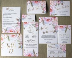 Blush Watercolor Peonies and Gold Foil Wedding Invitations by DColovenotes on Etsy