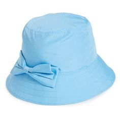 kate spade new york rain bucket hat ($78) ❤ liked on Polyvore featuring accessories, hats, lullabies, alice blue, blue bucket hat, bow hat, blue hat, kate spade and bucket hat