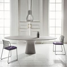 Bontempi - Podium Dining Table Concrete QT - Contemporary Modern Italian Furniture Store in Sacramento Dining Table Marble, Modern Dining Room, Oval Table Dining, Dining Table Design, Furniture, Oval Table, Italian Furniture, Table Design, Home Decor