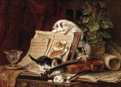 Henriette Ronner-Knip (Amsterdam 1821-1909 Elsene) | A curiosity for music | 19th Century, Paintings | Christie's