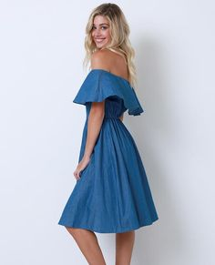 +Non-stretchy chambray off-shoulder midi dress with ruffled elastic top