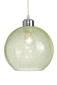 Taklampa i pastellfärgat krackelerat glas som ger ett mycket vackert och varmt sken. Kupans diameter 25 cm. Sladdlängd 1,2 m. Stor sockel E27. Max 60W.