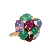 1950s Seaman Schepps Multi-Gemstone Cluster Ring | From a unique collection of vintage cluster rings at https://www.1stdibs.com/jewelry/rings/cluster-rings/