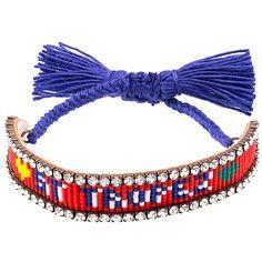 Shourouk St.Tropez Tassel Bracelet (455 PEN) ❤ liked on Polyvore featuring jewelry, bracelets, navy blue jewelry, navy jewelry, red jewelry, red jewellery and shourouk jewelry