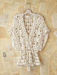 Vintage Metallic Crochet Sweater (metallic is tiny edging that outlines some… Cardigan Au Crochet, Gilet Crochet, Crochet Motifs, Crochet Shirt, Crochet Jacket, Knit Crochet, Crochet Tops, Fall Cardigan, Threading