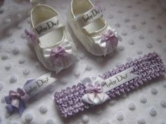 dior baby shoes | BABY GIRLS 0-3m WHITE SHOES LILAC TRIM BABY DIOR RIBBON HEADBAND CLIP ...