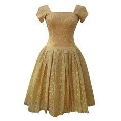 Emma Domb vintage 1950s gold prom dress