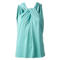 LANVIN twisted sleeveless top ❤ liked on Polyvore featuring tops, blue tank top, draped sleeveless top, drapey tank tops, draped tank top and sleeveless tank tops