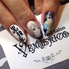 黒執事 : Character nail art. Kawaii nails. Black butler nail art Winter Nail Art, Winter Nails, Black Butler, Asia Nails, Japan Nail Art, Kawaii Nail Art, Posh Nails, Really Cute Nails, Disney Nails