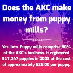 Educate yourself about the puppy mill/AKC connection. #nomorepuppymills