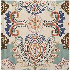 Safavieh Bella Collection BEL118A Handmade Ivory and Blue Premium Wool Square Area Rug 5 Square ** Click image to review more details. (This is an Amazon Affiliate link and I receive a commission for the sales)