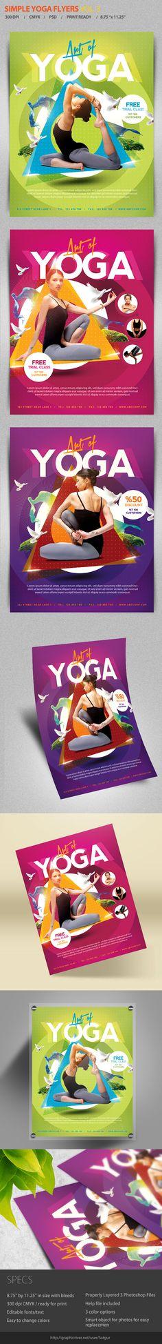 Simple Yoga Flyer Template by satgur, via Behance