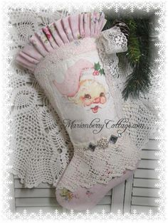 Shabby PINK SANTA Christmas Stocking Retro